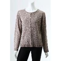 Ladies' Pure Cashmere Knitted Crew Neck Printed Leopard Pattern Cardigan