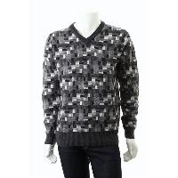 Men's Pure Merino Wool V Neck Jacquard Knitted Sweater