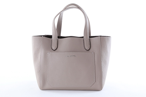 Light Grey Leather Twin Handles Ladies' Double-Face Small Tote Handbag
