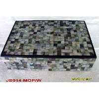 Black Mother of Pearl Jewelry Box w/Black Line Edge