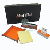 Imitation Leather Metal Name Card Holder, Memo Tray, Calendar Stand Set