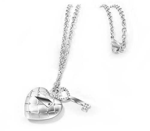 Stainless Steel Heart Shape Pendant and Key with Necklace
