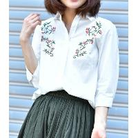 3/4 Sleeves Cotton Shirt with Embroidery