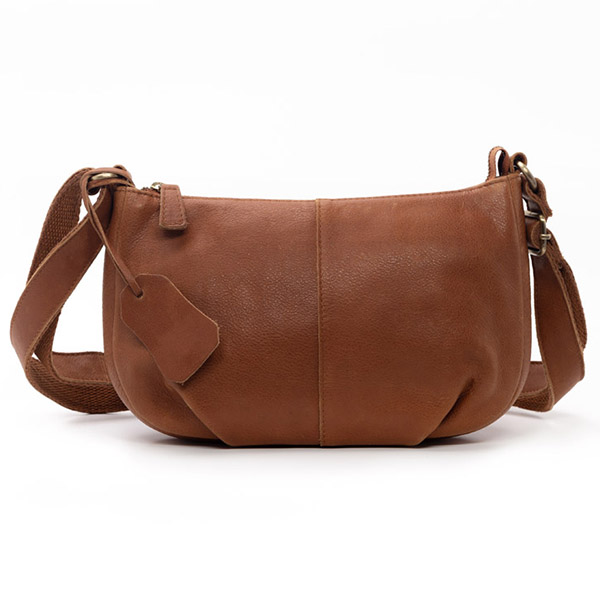Leather Cross Body Bag with Zipper Closure