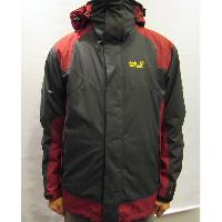 Grey/Red Men's Outer 3 in 1 Jacket Waterproof Breathable Windbreaker Functional Rainwear S~2XL