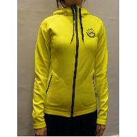 Yellow Ladies' Super Stretch Adjustable Hood Slim Fit Outdoor Training Casual Wear Knitted Jacket 36~46