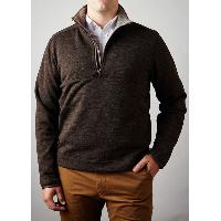Men's Wool Blended Knitted 1/4 Zip Stand Collar Long-sleeved Spring Autumn Pullover