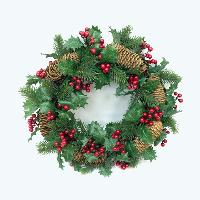 Holly & Pinecone Wreath w/Glitter
