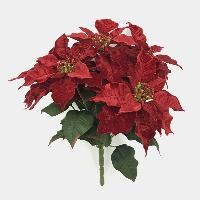 Long Sparkling Velvet Poinsettia Bush x 5, 3962-40