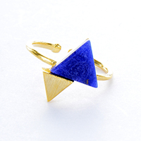Lapis Triangle Twins Ring