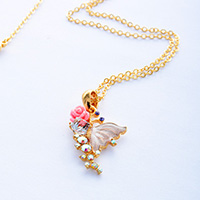 Butterfly on Rose Necklace, 270248GDPKFF