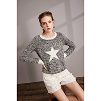 Star Blue Sweater / Bess Tweed Shorts, 390302 / 390140