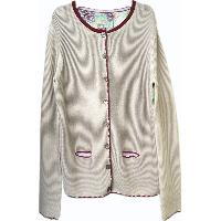 LADIES' CARDIGAN WITH FRONT KNITTED PANELS AND PRINTED WOVEN BACK