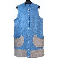 LADIES' BUTTONED LONG VEST AND COLORED POCKETS