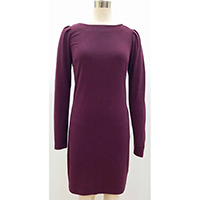 Ladies' Dress in Knitted Velour, Long Sleeves with Smocking Shoulder