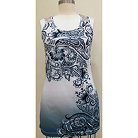 Ladies' Knitted Dress Allover Digital Print with Lace Trim on Shoulder