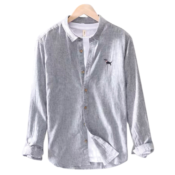 Men's Cotton Blended Chambray Shirt with Embroidery