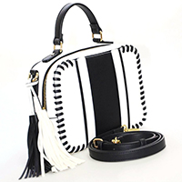 Stripe Whipstitch Crossover Bag