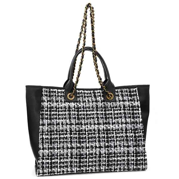 Black White Tweed Tote with Chain Straps