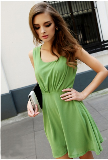 Trendy Pure Color Lotus Leaf Hem Bare-back Vest Dress----green