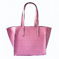 Genuine Leather Tote Bag - Pink