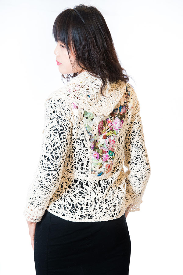 Ladies Chemical Lace/Woven Cardigan
