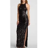 Black Sleeveless Sequin Floor Length Halter Neck Slim Fit Lady's Jersey Gown