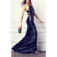 Sleeveless Halter Neck Floor Length Slim Fit Sequin Lady's Dress Gown