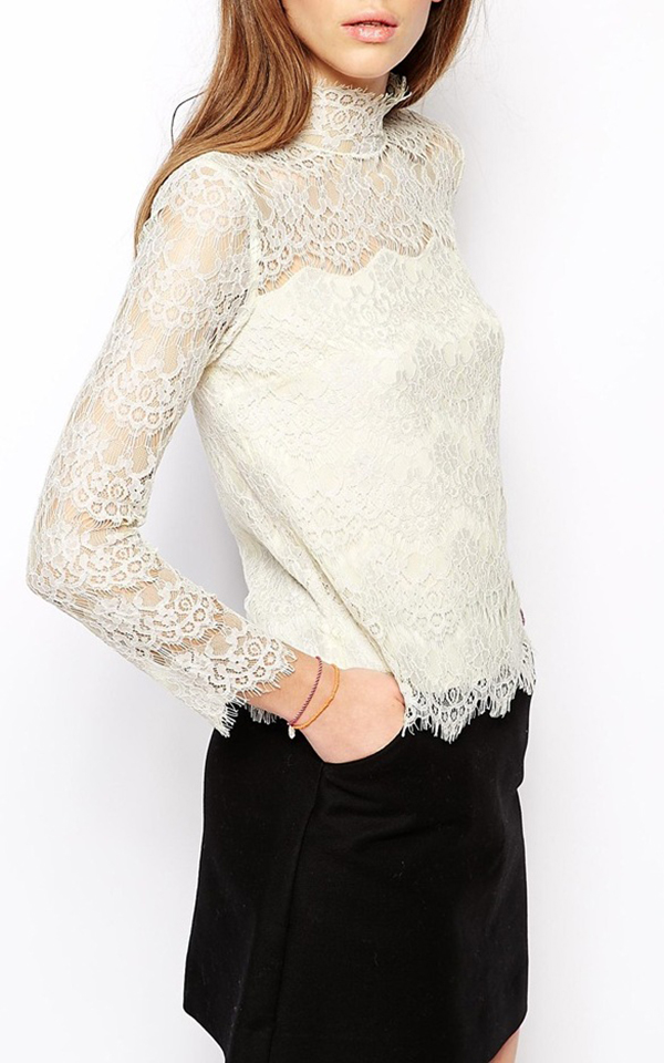 White Round Collar Long Sleeve Look-through Loose Fit Lace Lady's Top