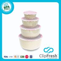 Ceramic Round Food Storage set 4pcs (push botton) CFPL6100 x 1(0.29L) CFPL6101 x 1(0.8L) CFPL6102 x 1(1.5L) CFPL6102 x 1(2.8L)