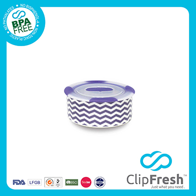 Ceramic Round Soup Storage (Push Button and Non-sliping) 310ML