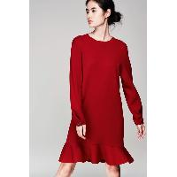 Ladies Crew Neck Knitted Dress with Ruffles Hem Details