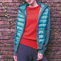 Ladies Padded Jacket with Knitted Sleeve