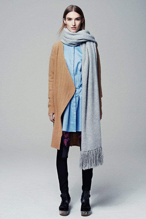 Ladies Cashmere Knitted Long Cardigan + Knitted Scarf
