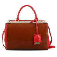 Brick Red Cowhide Leather Fashion Casual Top Handle Ladies' Handbag Shoulder Bag