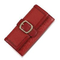 Red / Black Buckle Closure Cowhide Leather Fashion Ladies Long Wallet