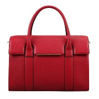 Red Cowhide Leather Fashion Casual Top Handle Ladies' Handbag Shoulder Bag