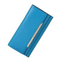 Light Blue Flip Closure Cowhide Leather Fashion Ladies Long Wallet