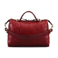 Red / Camel Cowhide Leather Fashion Casual Top Handle Ladies' Handbag Shoulder Bag