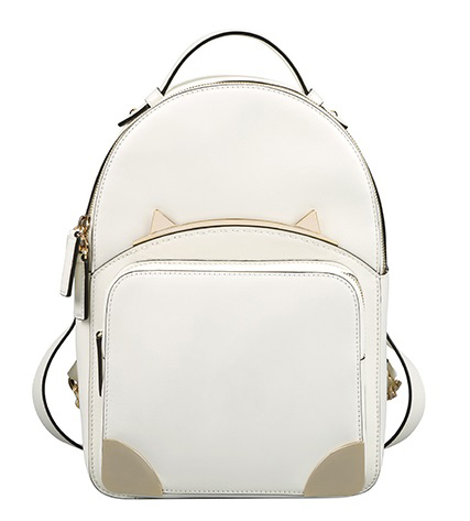 White Ladies Zipper Top Closure Fashion Shoulder Bag Cowhide Cat Signature Backpack