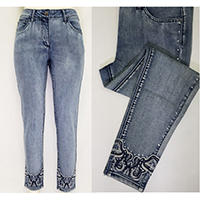 Ladies Jeans with Embroidery at Hem and along The Front Pocket & Side Seam with Hot Fix Stone