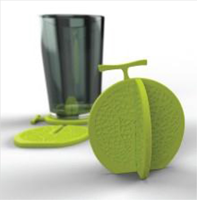 Melon Shape Green 3D Drink Beverage Useful Tableware Protect Table Coaster