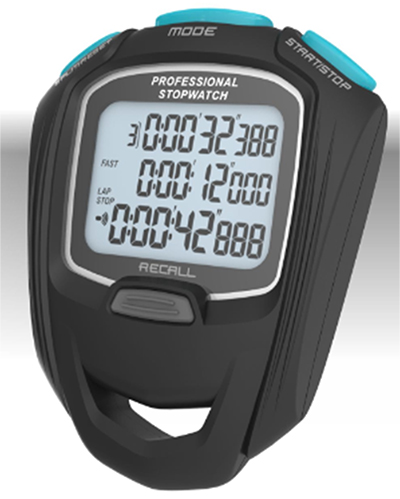 Professional Stopwatch with Large Display Option 100/200/500 3 Rows Large Display Self-Serviceable Battery