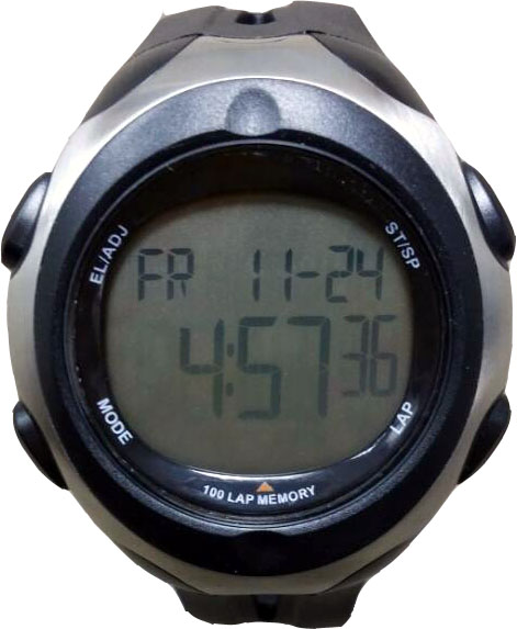 Black Calendar Date Dual Time Zone Digital High-Precision Wrist Stopwatch 100 LAP