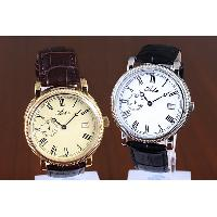 Classical Stainless Steel Waterproof Roman Numerals Leather Band Date Display Watch