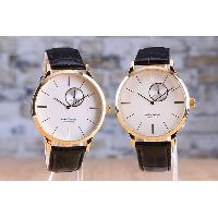 Stainless Steel Leather Band Waterproof Gents Sub Dial Analog Watch