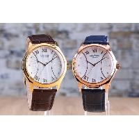 Stainless Steel Fashion Waterproof Leather Band Gents Roman Numerals Analog Watch, WK12157