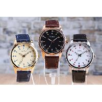 Stainless Steel Round Dial Croc Leather Band Waterproof Gents Analog Watch