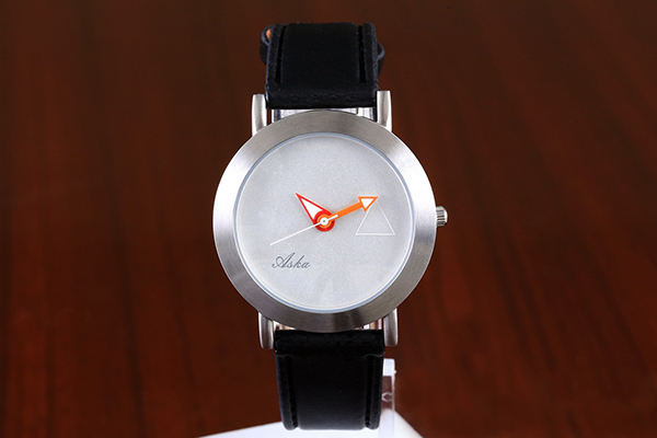 Fashion Waterproof Hands Black Leather Band Stainless Steel Ladies Watch