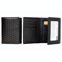 Castello RFID Protected Braid Pattern Trifold Leather Wallet, 1-420